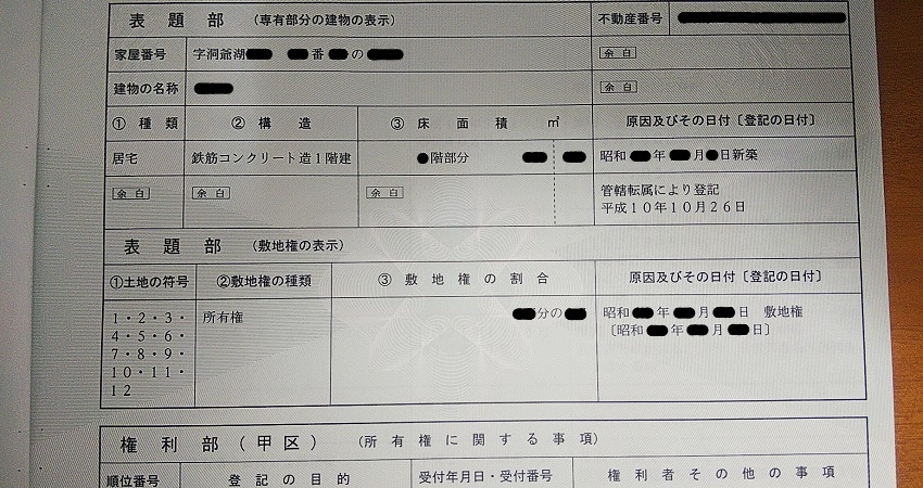 温泉付きマンションの登記事項証明書